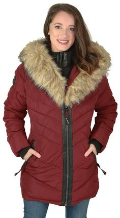 Canada Weather Gear Women's Mid Faux Down Goose Parka Coat -- Startling review available here  : Plus size coats