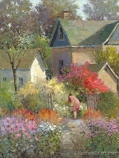 """Cottage Garden"" by Kent R. Wallis, American Artist born in 1945 . Garden Painting, Garden Art, Landscape Art, Landscape Paintings, Cottage Art, Cottage Gardens, Photo Images, Art Pictures, Photos"