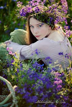 ❀ Flower Maiden Fantasy ❀ beautiful art & fashion photography of women and flowers - purple wreath