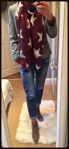 Tweed jacket, distressed jeans & statement scarf