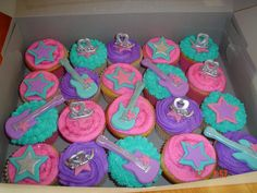 Barbie Popstar Cupcakes Pink purple blue Guitars stars microphones little girls party parties fun simple bright