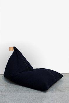 d326df2377 Bean Bag - Dark Denim with natural leather handle Sofa Chair