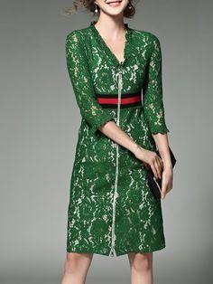 V neck Green Midi Dress A-line Daily 3/4 Sleeve Elegant Dress