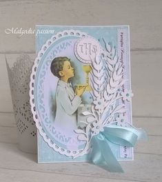 First Communion Cards, First Holy Communion, Cute Cards, Card Making, Paper Crafts, Frame, How To Make, Scrapbooking, Costume