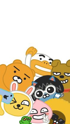카카오프렌즈 Kawaii Wallpaper, Love Wallpaper, Wallpaper Backgrounds, Iphone Wallpaper, Bear Wallpaper, Cute Illustration, Character Illustration, Kakao Friends, Thinking Day