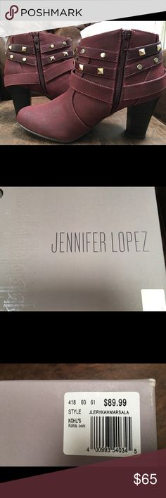 Jennifer Lopez Burgundy Studded Ankle Boots 7.5 NIB, never worn Jennifer Lopez Burgundy Boots. Size 7.5. Beautiful & cool studs. Bought for $89.99+tax. Jennifer Lopez Shoes Ankle Boots & Booties