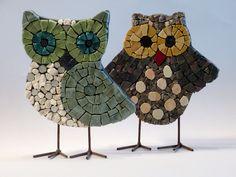 Two cute smalti owls