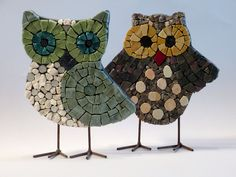 Two cute smalti mosaic owls