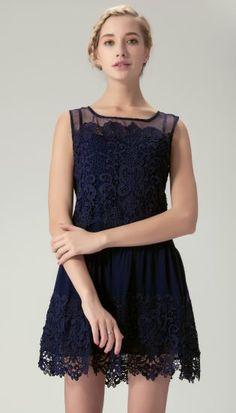 Navy Lace Dress//