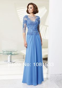Elegant Lace with Crystals Top Blue Chiffon Long Formal Evening Gown Mother of the Bride Dresses 2014 $135.00