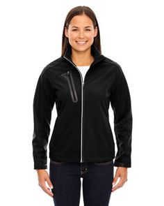 Ash City - North End Ladies' Terrain Colorblock Soft Shell with Embossed Print Black