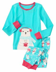 4fbf55cc0496b Gymboree Girls Size 4 Arctic Polar Bear Cotton Long Sleeve Pajama Set NWT # Gymboree #
