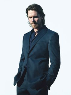 Navy Pinstripe   Christian Bale