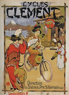 Bicycle race japan girl cycles clement seine french vintage poster repro large                                                                                                                                                                                 More