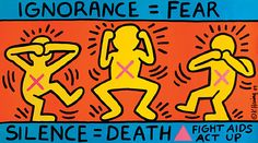 Keith Haring was the leading figure of a gay-liberal movement. Keith Haring was one of street art's first innovators. Keith Haring personified the commercial success of urban art. Keith Haring IS Widewalls' Artists of the Week. Keith Haring Kids, Keith Haring Poster, Protest Kunst, Protest Art, Protest Posters, Education Posters, Protest Signs, Bad Painting, Hippie Painting