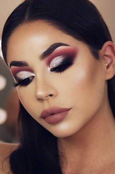 57 Wonderful Prom Makeup Ideas – Number … - Make Up World Dramatic Eye Makeup, Eye Makeup Art, Full Face Makeup, Beauty Makeup, Makeup Goals, Real Beauty, Makeup Looks For Red Dress, Red Dress Makeup, Make Your Own Makeup
