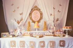 Pink and Gold baby shower via Kara's Party Ideas KarasPartyIdeas.com Cake, banner, desserts, favors, and more! #girlbabyshower #elegantbabyshower #pinkandgold (32)
