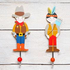 cowboy or indian wall hook by red berry apple | notonthehighstreet.com