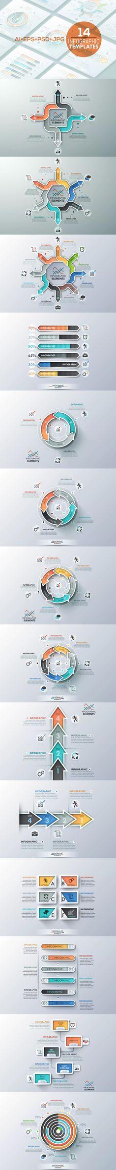 14 Infographic Templates AI, EPS, PSD