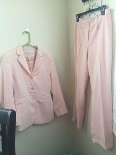 7d7541b836ff2 Details about Womens Stickey Fingers Lined 2pc Pant Suit Button Up Blazer Pants  Pale Pink