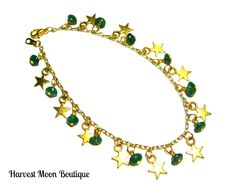 "This bracelet was handcrafted by me.  I used gold tone star charms and green jade beads.  This bracelet measures 8.5"" on gold tone link chain.  This bracelet can be resized to fit your needs. It can be resized from a petite 6"" on up to a plus size 12""."