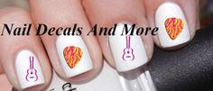 #COUPON CODE PINIT AND SAVE 10% OFF 50 pc of pink Guitars and flame pic by NailDecalsAndMore on Etsy, $3.00