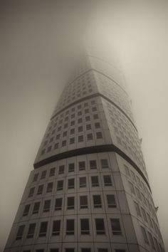 Vanishing Turning Torso In Malmö Sweden http://www.mabrycampbell.com #turningtorso #photography #mabrycampbell #calatrava #santiagocalatrave #malmo #sweden #fog #travel #foggy #architecture