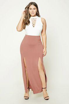 Shoptagr | Plus Size M Slit Maxi Skirt by Forever 21 #style #fashion #trend #design #dress #onlineshop #shoptagr