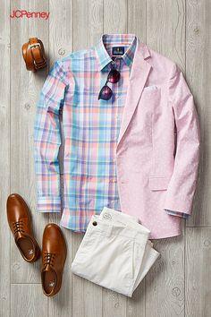 Blazers Suits & Sport Coats for Men - JCPenney Mens Casual Dress Outfits, Men Dress, Foto Fashion, Mens Fashion, Mens Sport Coat, Accesorios Casual, Gentleman Style, Mens Suits, Men Casual