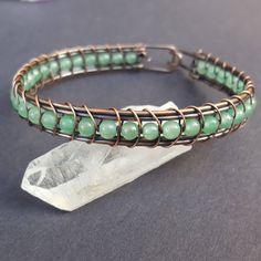 Crystal Bracelet Healing, Healing Crystal Bracelet, Copper Bracelet, Copper Jewelry, Handmade Wire Wrapped Jewelry, Wire Weaved Bracelets by WireMoonJewelry on Etsy https://www.etsy.com/listing/568275545/crystal-bracelet-healing-healing-crystal