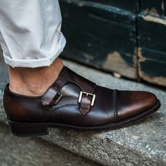 Flip the burnished script with a lighter toe in a monk strap. #Shoes #MensShoes #SoleSearcher