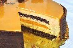 Tort Entremet cu mousse de caramel si mousse de caise