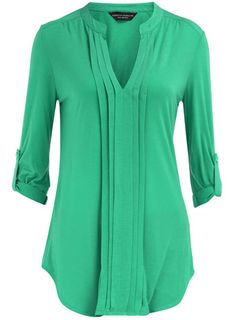 Green pleat front top  love the color but currently out of stock