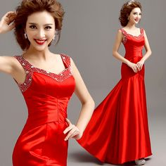 z 2016 new arrival stock maternity plus size bridal gown  evening dress Red Slim fish Tail satin sexy Long 311