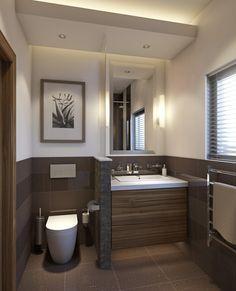 kleines badezimmer trennwand waschkonsole holz toilette braun fliesen badezimmer pinterest. Black Bedroom Furniture Sets. Home Design Ideas