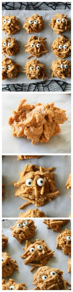 Peanut Butter Haystacks - a recipe from my childhood. Make them plain for Christmas plates or add monster eyes for a scary treat for Halloween.
