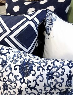 indigo blue and white pillows feel rich yet clean and fresh