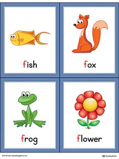 letter f words and pictures printable cards fish fox frog flower color