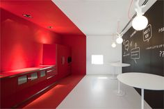 Fraunhofer Headquarters / Pedra Silva Architects cool office studio Outdoor shower to clean up from your private beach! Red Interiors, Office Interiors, Colorful Interiors, Office Interior Design, Interior And Exterior, Office Designs, Kitchen Interior, Flur Design, Design Design