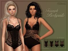 It contains two black bodies, both come in two versions. - by Triumph  Found in TSR Category 'Sims 4 Female Everyday'