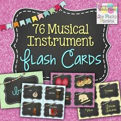 76 Musical Instrument Flash Cards {3 sets of 76 flash cards - perfect for matching games, instrument category sorting, and more!} #tpt #instruments #music #flashcards #games #labels #wordwall #sorting #glitter #chalkboard