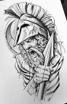 Warrior Tattoos, Viking Tattoos, Tattoo Sketches, Tattoo Drawings, Spartan Tattoo, Family Tattoo Designs, Dibujos Tattoo, Mens Lion Tattoo, Mythology Tattoos