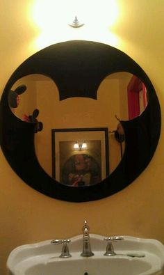 Mickey mirror my husband and I did for my Mickey Bathroom after not being able to find one I liked that was less than a $300 and I was more pleased with this than any I had found anyway