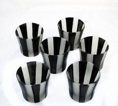 Black Striped Votive - Tea Light - Home Decor - Tim Burton Inspired - Gothic - Gifts under 10
