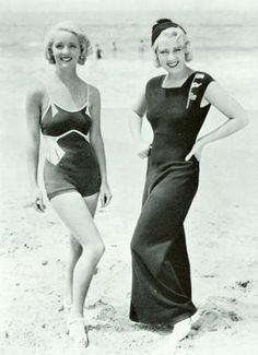 Bette Davis in a swimsuit, and Joan Blondell in beach pyjamas in the early 1930's. The fabulous costumes are by Warner Brothers genius Orry-Kelly.