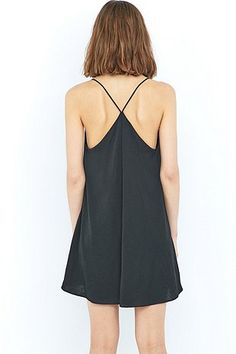 Pins & Needles Hammered Black Satin Slip Dress - Urban Outfitters
