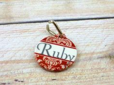 Red Antique Damask pet tagChoose your by PurelyPersonalized, $13.95