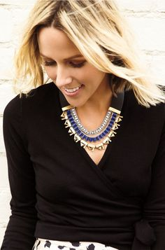 Collar Natalie Necklace | Stella & Dot. Reverse this collar necklace from neutral mixed metal to a pop of colbalt to change up your look. Genuine leather detail with hints of pave sparkle.