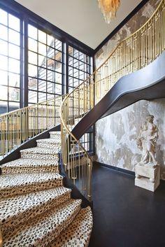 Kelly Wearstler Residential / leopard stair runner.