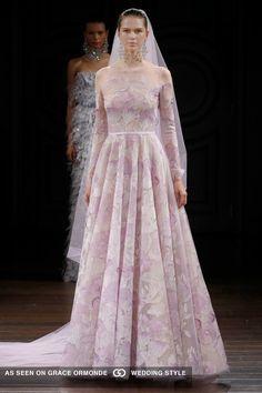 naeem khan 2017 spring bridal couture gown lavender embroidered floral long sleeve lavender veil